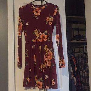 Burgundy high neck forever 21 floral dress sz S
